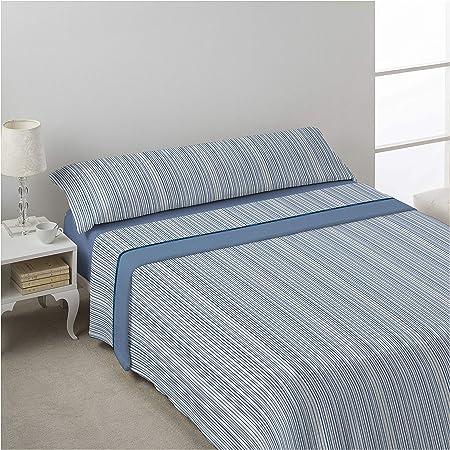 DON ALGODÓN Juego de sabanas Invierno CORALINA MILU Azul Cama de 150 x 190/200. Azul: Amazon.es: Hogar