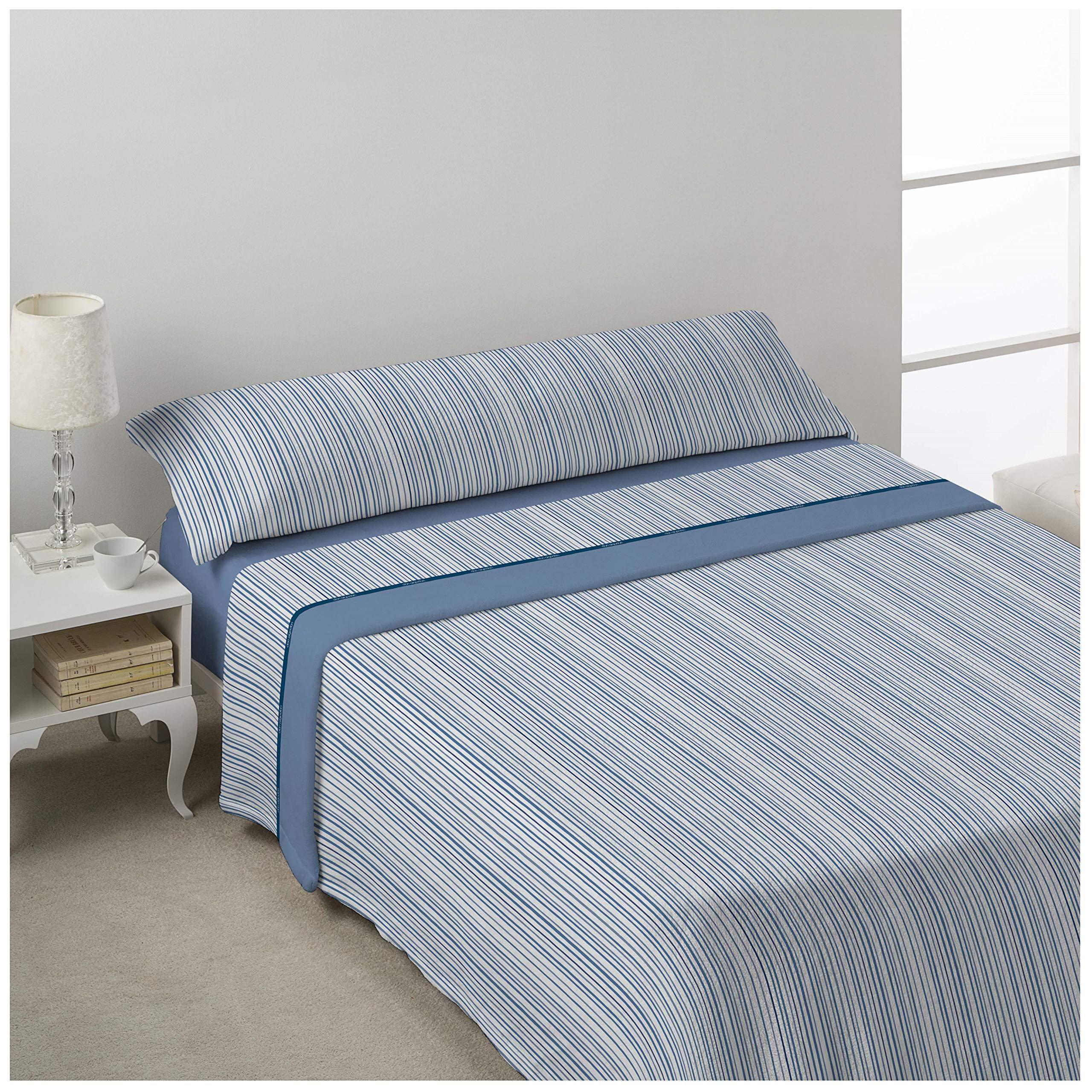 DON ALGODÓN Juego de sabanas Invierno CORALINA MILU Azul Cama de 150 x 190/200