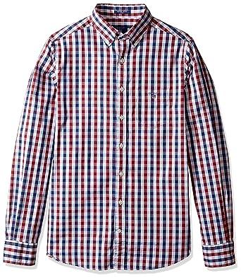 0d104147 GANT Men's Classic Indigo Gingham Shirt at Amazon Men's Clothing store: