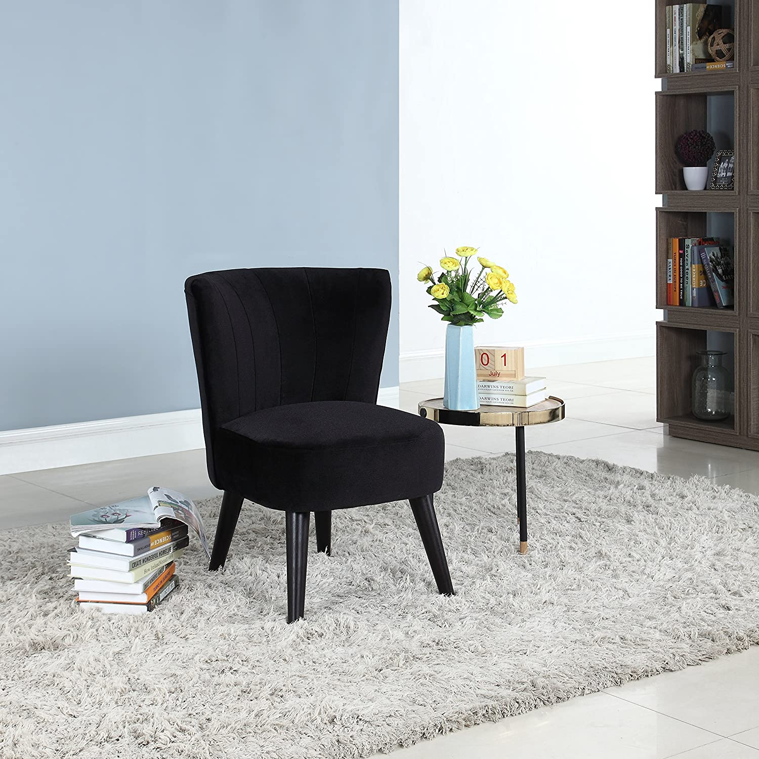 Amazon com divano roma furniture classic and traditional living room velvet fabric accent chair black kitchen dining