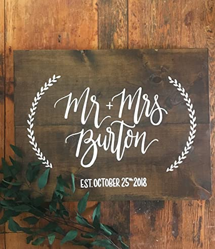 Wooden Wedding Signs.Amazon Com Susie85electra Wedding Mr Mrs Sign Rustic Wood