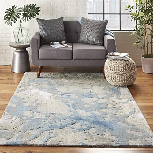 "Nourison Symmetry Artistic Beige and Blue Area Rug 3'9"" X 5'9"""