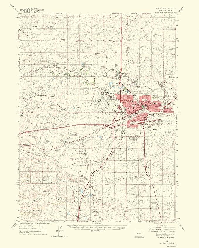 Amazon.com: Topographical Map - Cheyenne Wyoming, Colorado ...