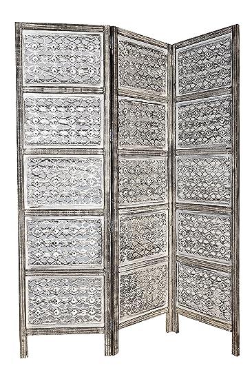Orientalischer Paravent Raumteiler Aus Holz Lakshmi 150 X 180cm Hoch In  Weiss | Indischer Trennwand Als