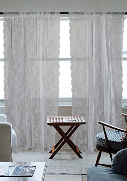 DII Sheer Lace Decorative Curtain Panels For Bedroom, Living Room, Guest  Room, Or