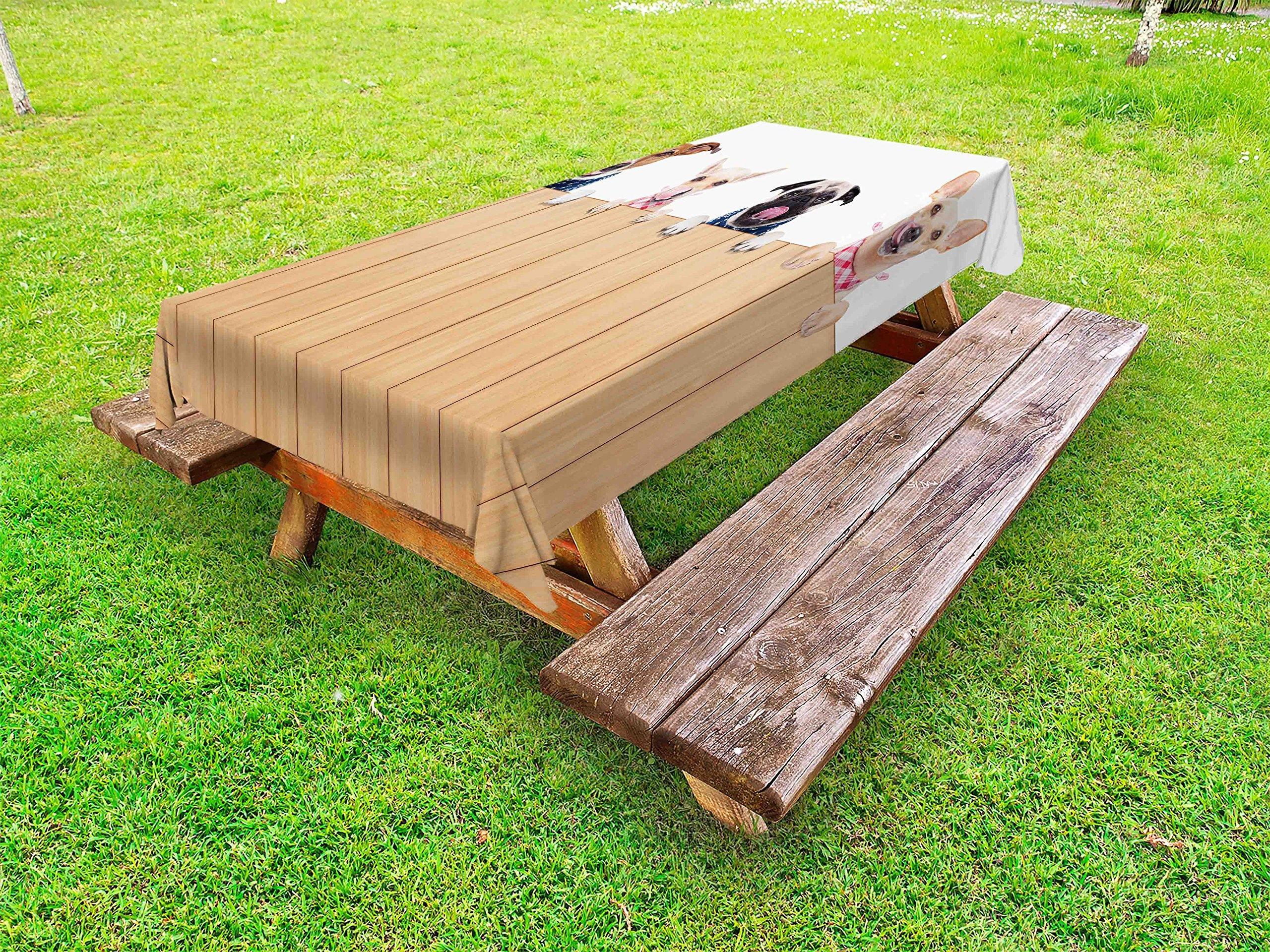 Lunarable Dog Lover Outdoor Tablecloth, Row of Dogs Hungry and Tonge Sticking Out a Wall of Wood Licking Lunch Time, Decorative Washable Picnic Table Cloth, 58 X 120 inches, Sand Brown White