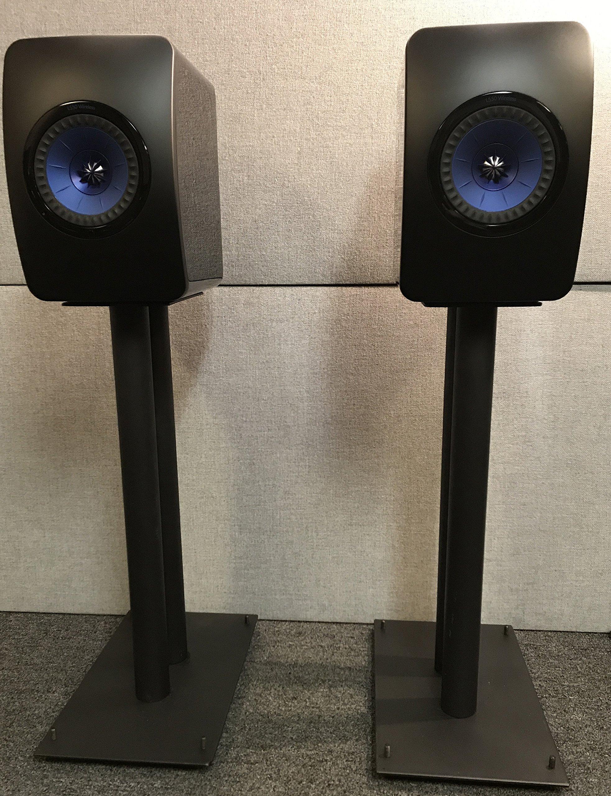 "24"" Heavy Duty, All-Steel Floor Speaker Stands by Vega A/V Systems   Fillable   for KEF Bookshelf Speakers   Steel Carpet Spikes   Set of 2   Black Powder Coating"