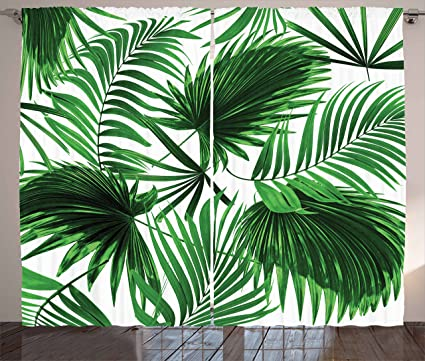 Ambesonne Palm Leaf Curtains Realistic Vivid Leaves Of Tree Growth Ecology Lush Botany Themed
