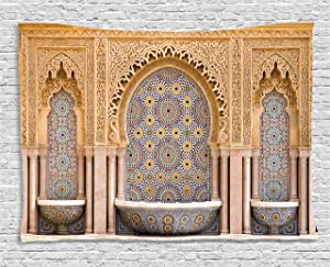 Ambesonne Moroccan Decor Tapestry, Typical Moroccan Tiled Fountain in The City of Rabat, Near The Hassan Tower, Wall Hanging for Bedroom Living Room Dorm, 80 W X 60 L Inches, Gold and Peach