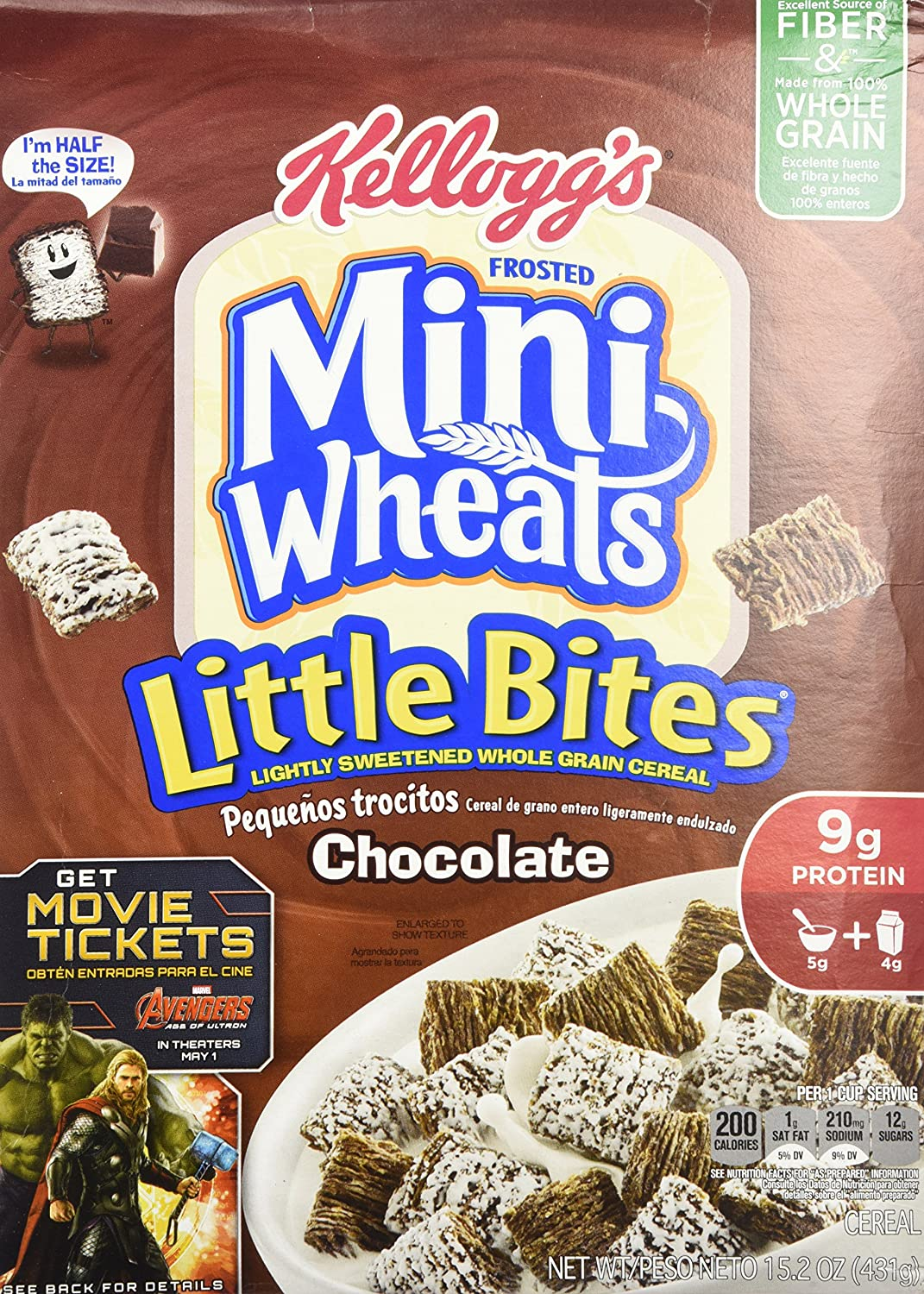Amazon.com: Kelloggs Frosted Mini Wheats, Chocolate, Little Bites Cereal, 15.2 Ounce Box (4-pack): Breakfast Cereals
