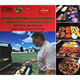 """Backyard Chef Bake and Grill Master Grill Mat Baking Mat FDA Approved Heavy Duty Non Stick Premium BBQ Grill Mats Set of 2 - 16""""x13"""" - Great Gift Ideas for men - Best Grill Accessories"""