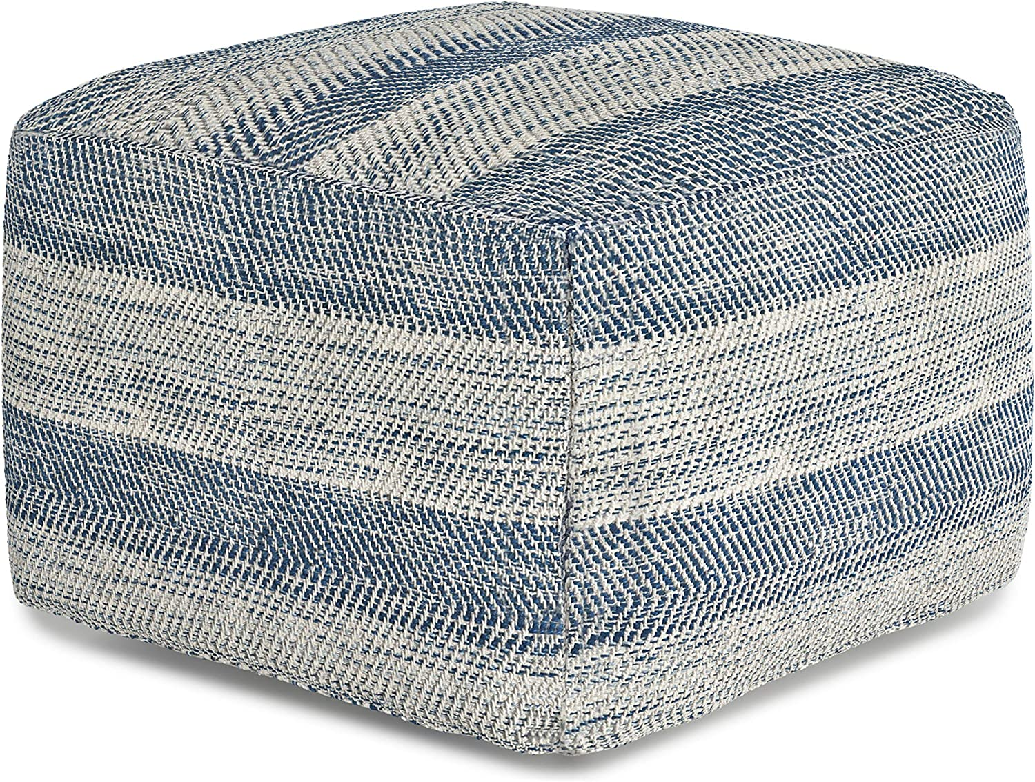 SIMPLIHOME Clay Square Pouf, Footstool, Upholstered in Patterened Teal Melange Hand Woven Cotton, for the Living Room, Bedroom and Kids Room, Transitional, Modern