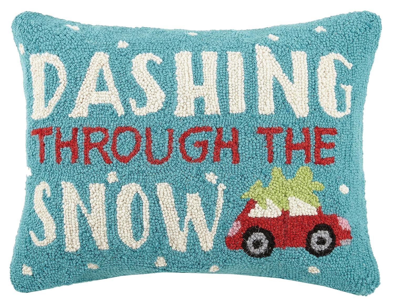 Peking Handicraft Dashing Through The Snowフックウールランバーサポート枕、マルチカラー B071X4B49M