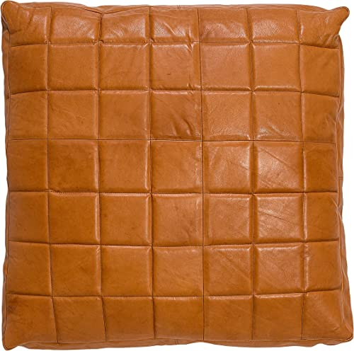 Bloomingville Leather Pillow, Camel Color with Grey Back