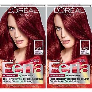 L'Oreal Paris Feria Multi-Faceted Shimmering Permanent Hair Color, R57 Intense Medium Auburn, Pack of 2, Hair Dye