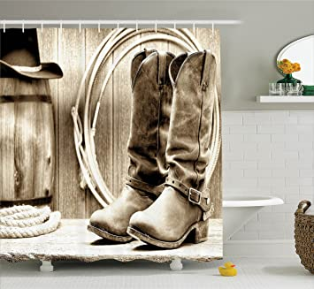 Perfect Western Shower Curtain By Ambesonne, Traditional Rodeo Supplies With Roper  Boots In Vintage Colors Nostalgic