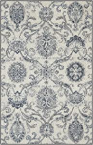 Maples Rugs Blooming Damask Kitchen Rugs Non Skid Accent Area Floor Mat [Made in USA], 2'6 x 3'10, Grey/Blue