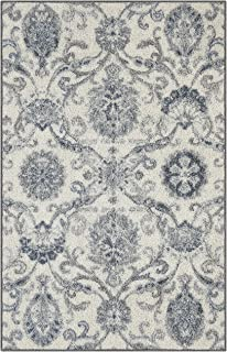 product image for Maples Rugs Blooming Damask Kitchen Rugs Non Skid Accent Area Floor Mat [Made in USA], 2'6 x 3'10, Grey/Blue