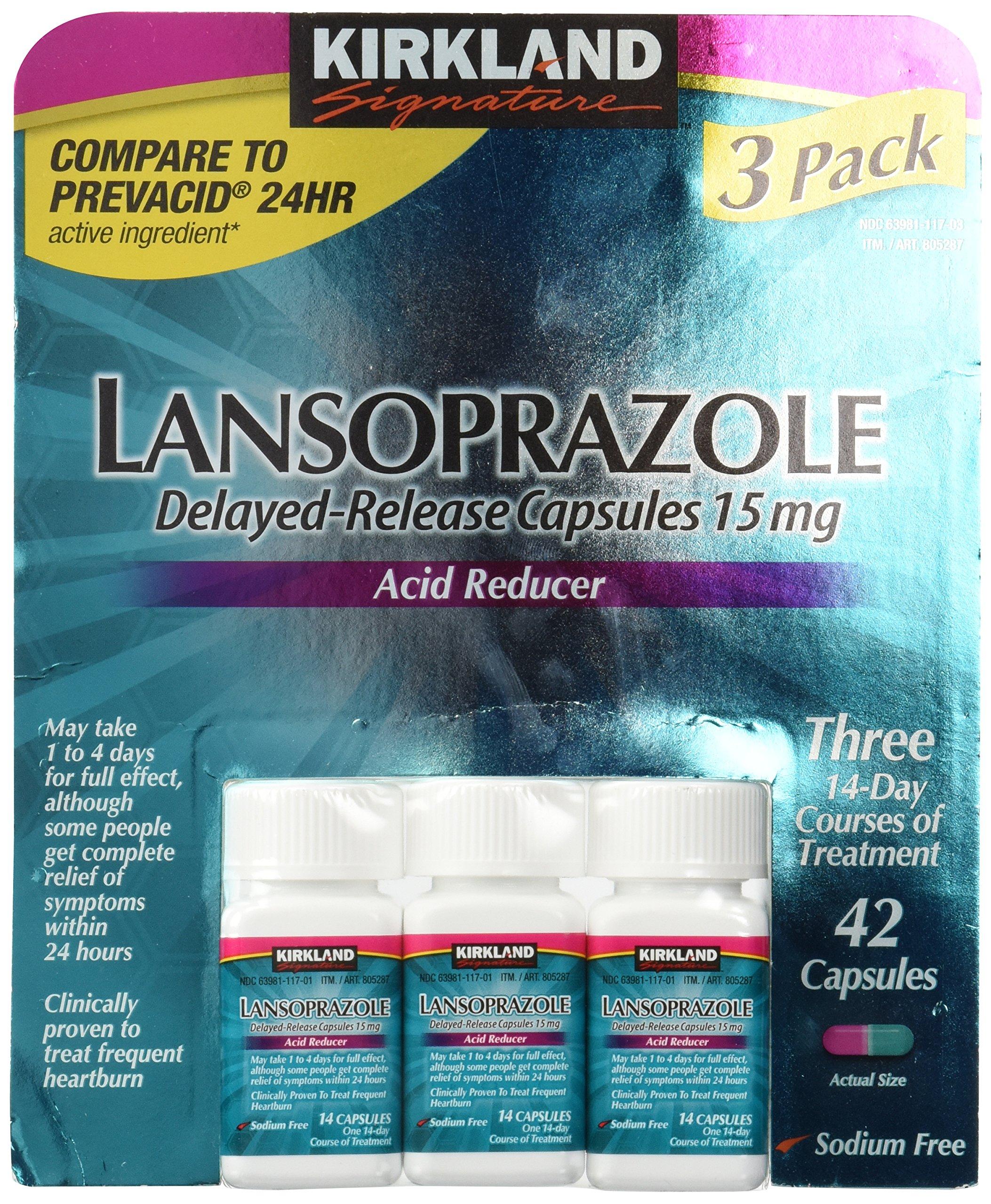 Kirkland Lansoprazole 3 Pack Delayed-Release Total 42 Capsules by Kirkland Signature