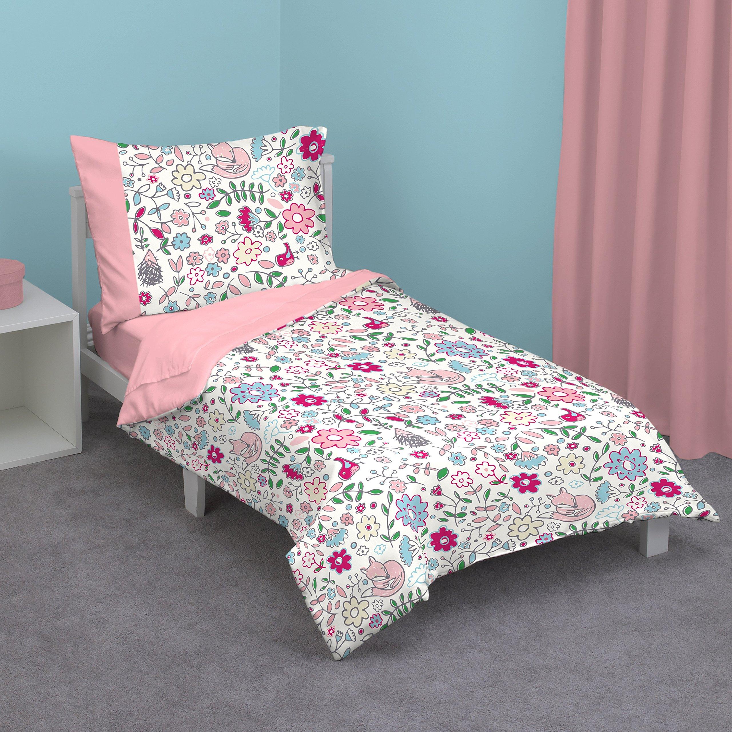 Zutano Fox 4-Piece Toddler Bed Set, Pink, Raspberry, Blue, Green