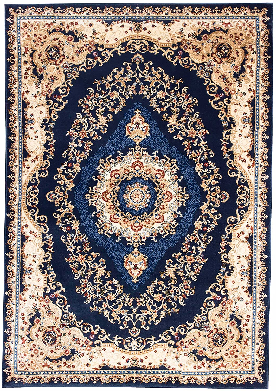 Kerman Royal Turkish Collection Navy Area Rug 3x5 AG Home 04586A_BCV77_NAVY-NAVY 3x5