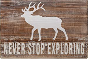 "Barnyard Designs Never Stop Exploring Wooden Plaque Sign Rustic Vintage Primitive Lake House Cabin Decor 17"" x 12"""