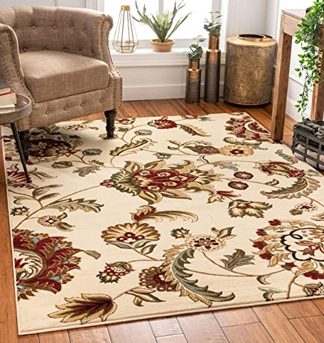 Well Woven Grand Garden Ivory Floral Oriental Modern Formal Area Rug 9×13 9 3 x 12 6 Easy to Clean Stain Fade Resistant Shed Free Traditional Transitional Soft Living Dining Room Rug