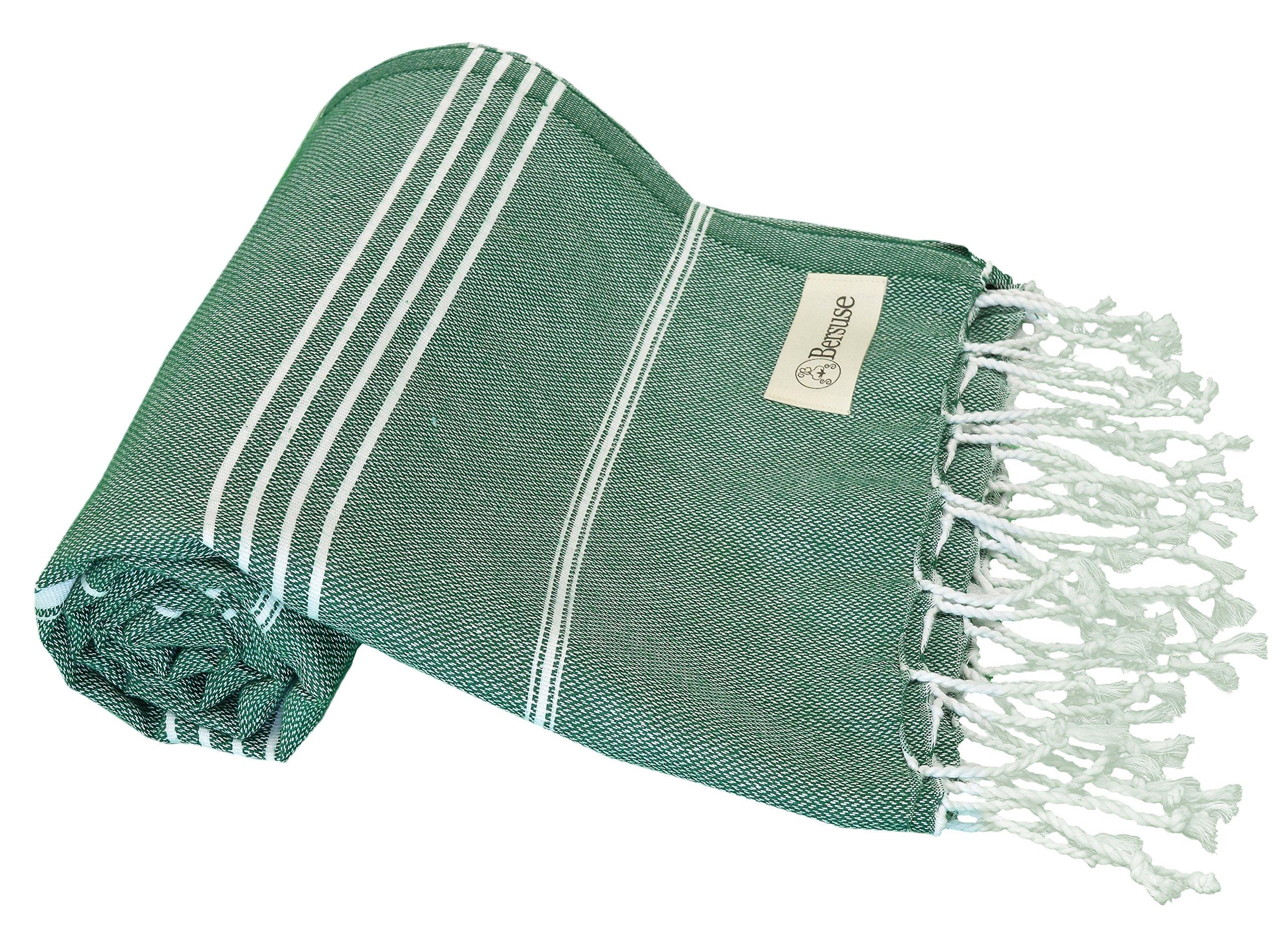 Bersuse 100% Cotton - Anatolia Turkish Towel - Bath Beach Fouta Peshtemal - Classic Striped Pestemal - 37X70 Inches, Forest Green
