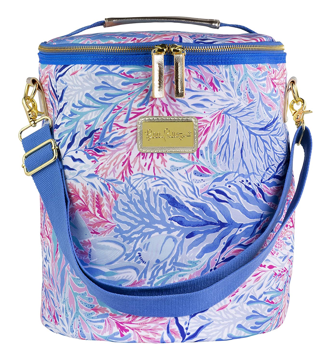 Lilly Pulitzer Insulated Beach Cooler with Adjustable Strap, Kaleidoscope Coral