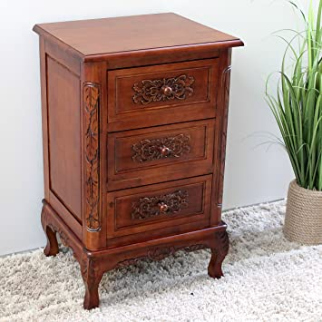 Superbe Hand Carved Wood 3 Drawer End Table