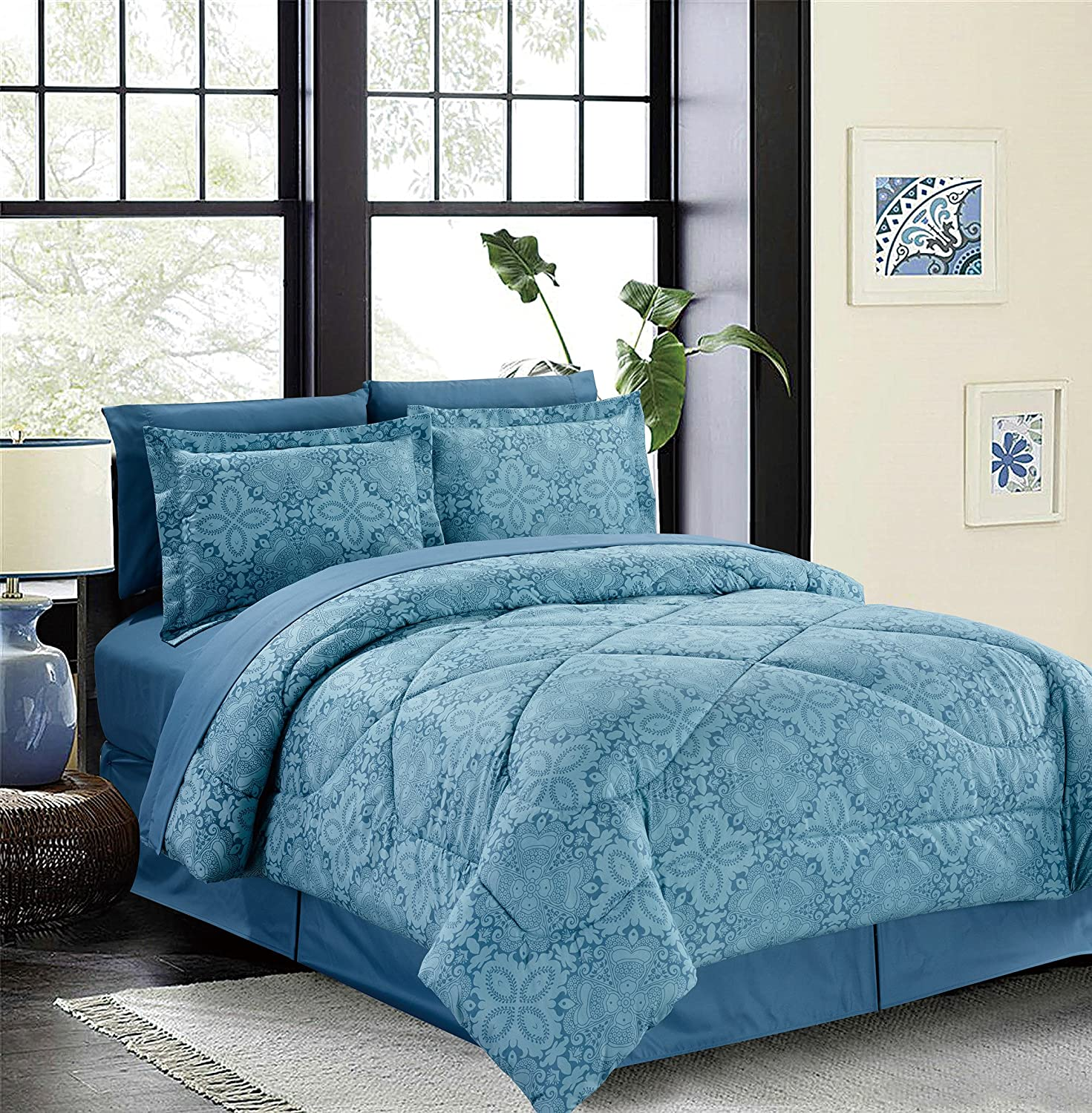 Vintage Damask 8-Piece Bed in a Bag Set Teal (Double/Full) MHC