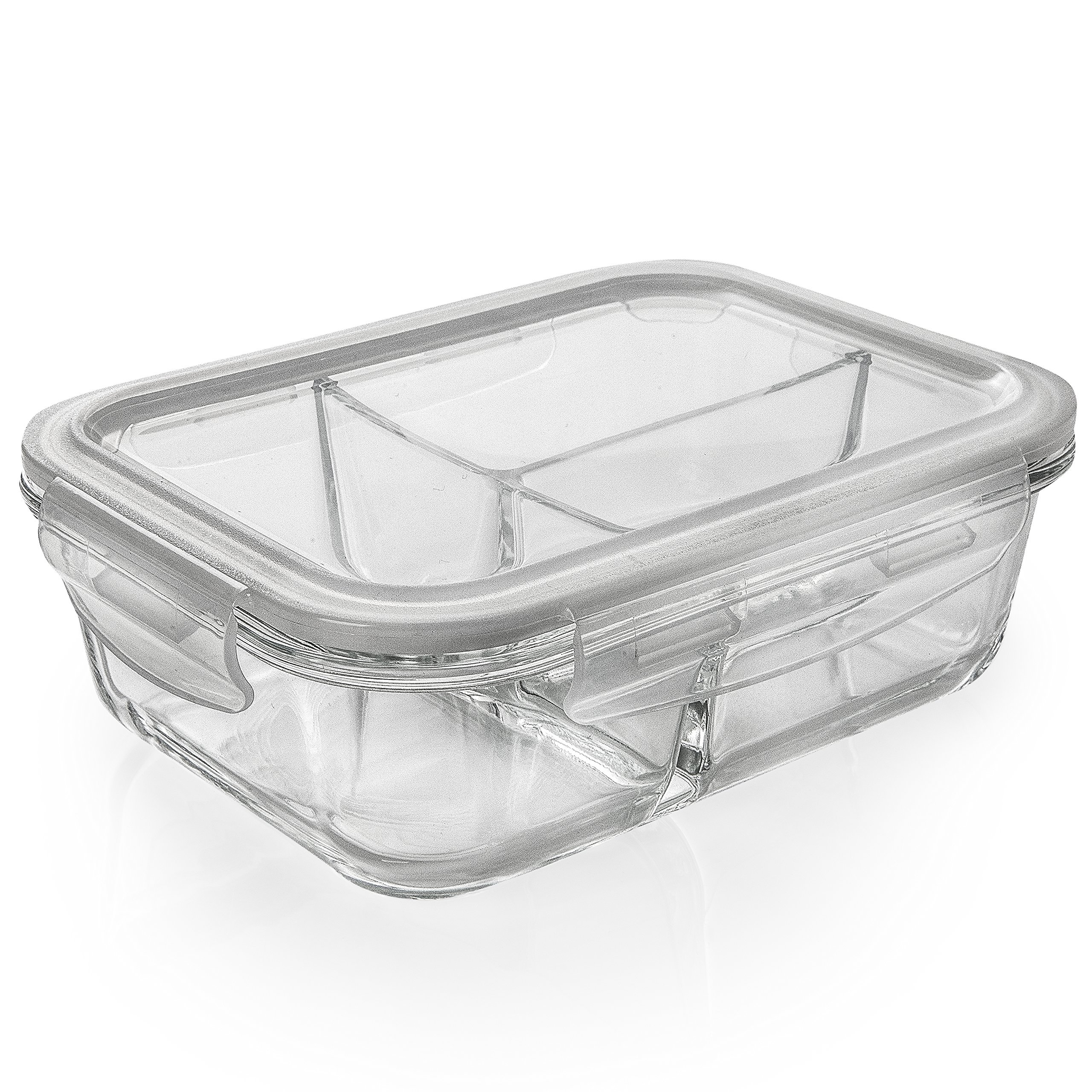 [5-Pack] Glass Meal Prep Containers 3 Compartment - Bento Box Containers Glass Food Storage Containers with Lids - Food Prep Containers Glass Storage Containers with lids Lunch Containers by Prep Naturals (Image #8)