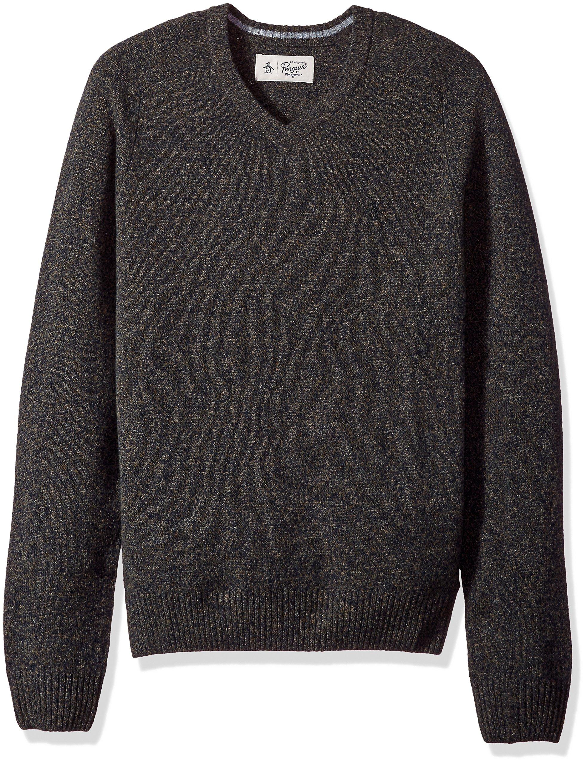 Original Penguin Men's P55 100% Lambswool V-Neck Sweater, Dark Sapphire, Extra Large