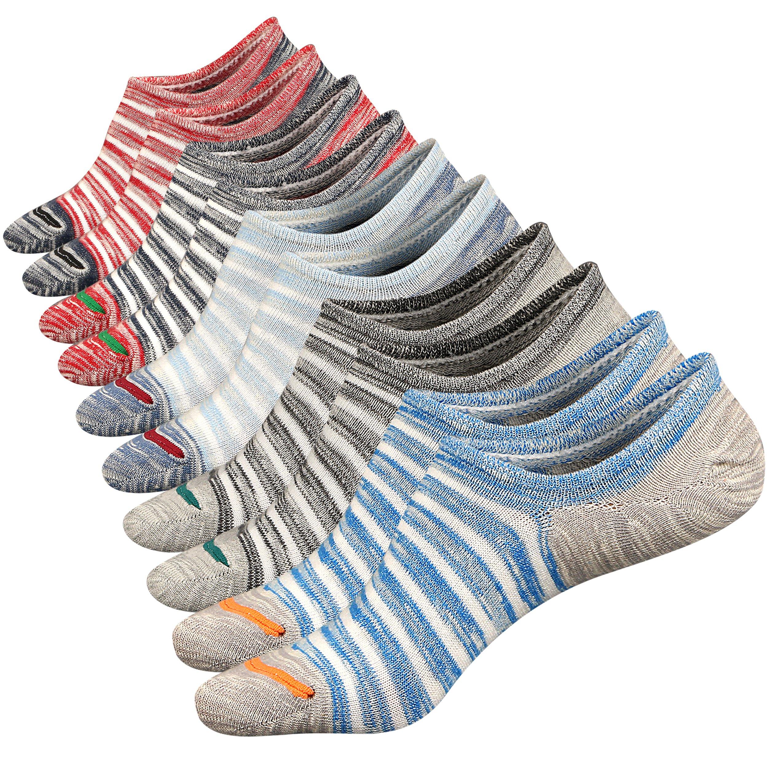 Mens No Show Low Cut Ankle Socks Non-Slip Ventilation Deodorant Cotton Socks 5Pack