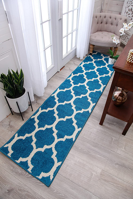 Amazon.com: New Fashion Luxury Morrocan Trellis Rugs Blue and White ...