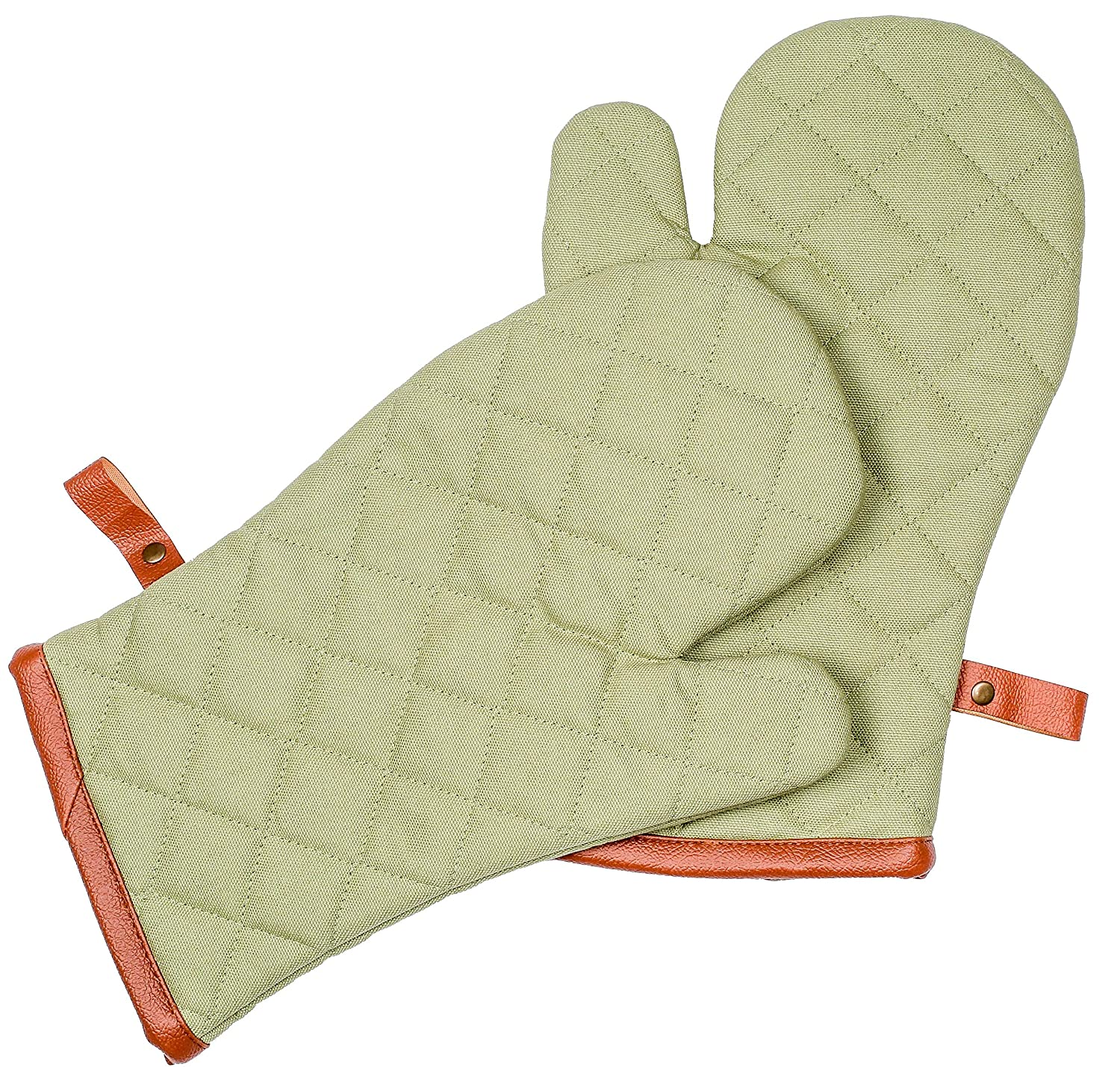 Cote De Amor Set of 2 Oven Mitts Gloves Bulk Heat Resistant Machine Washable, 100% Cotton Oven Mitts with Heavy Duty Leather Hanger for Everyday Kitchen Cooking Baking BBQ, Green