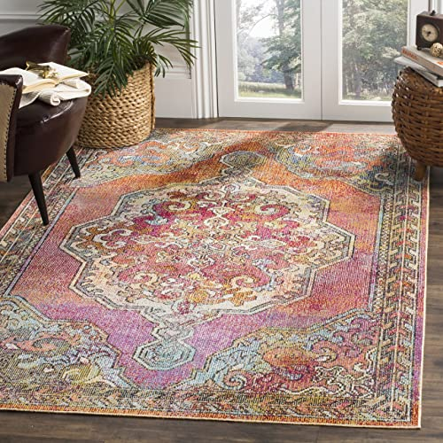 Safavieh Crystal Collection CRS502A Orange and Light Blue Bohemian Medallion Area Rug 6'7″ x 9'2″