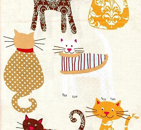 Newcastle tejidos 832 – 004 de gato gatos en beige Tela de algodón