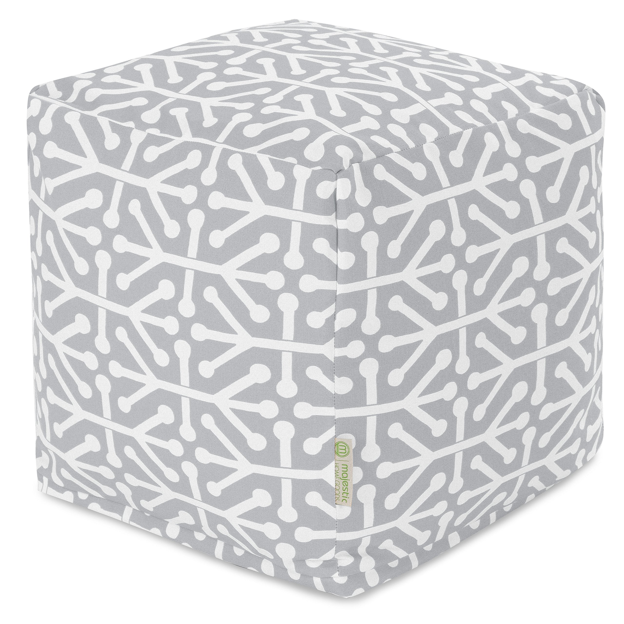 Majestic Home Goods Gray Aruba Indoor/Outdoor Bean Bag Ottoman Pouf Cube 17'' L x 17'' W x 17'' H