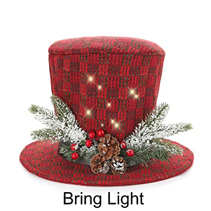 sdsanea traditional and countryside multicolor and knitted fabric top hat christmas tree topper red green white - Top Hat Christmas Decorations