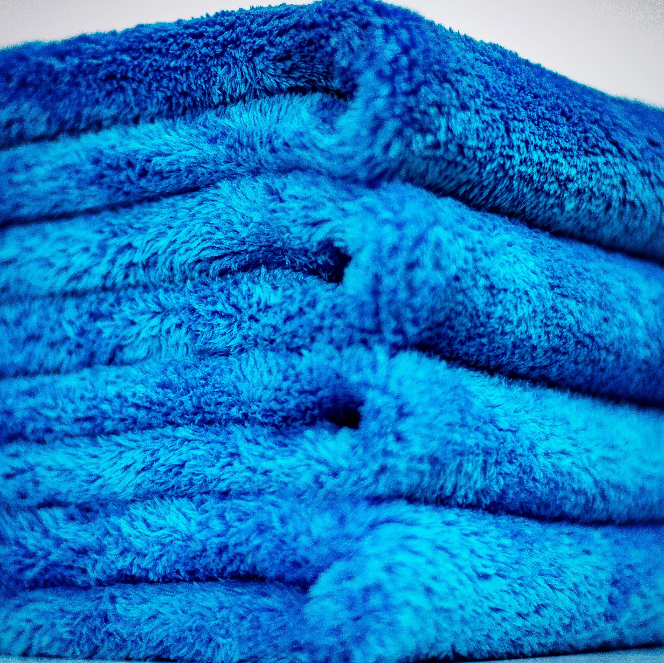 Bull Shine Plush No Edge Microfiber Towel - Blue, 16''x16'' (5 Pack) - Plush Edgeless Microfiber Towels