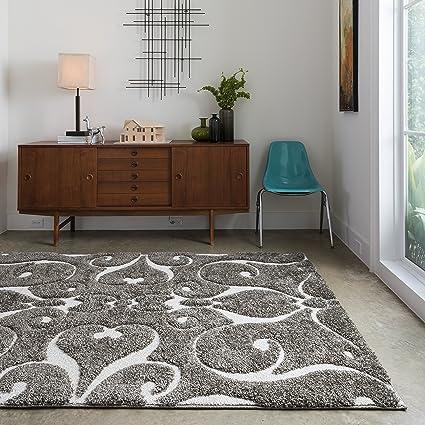 Amazon Com Jullian Charcoal Grey Brown Shag Contemporary Area Rug