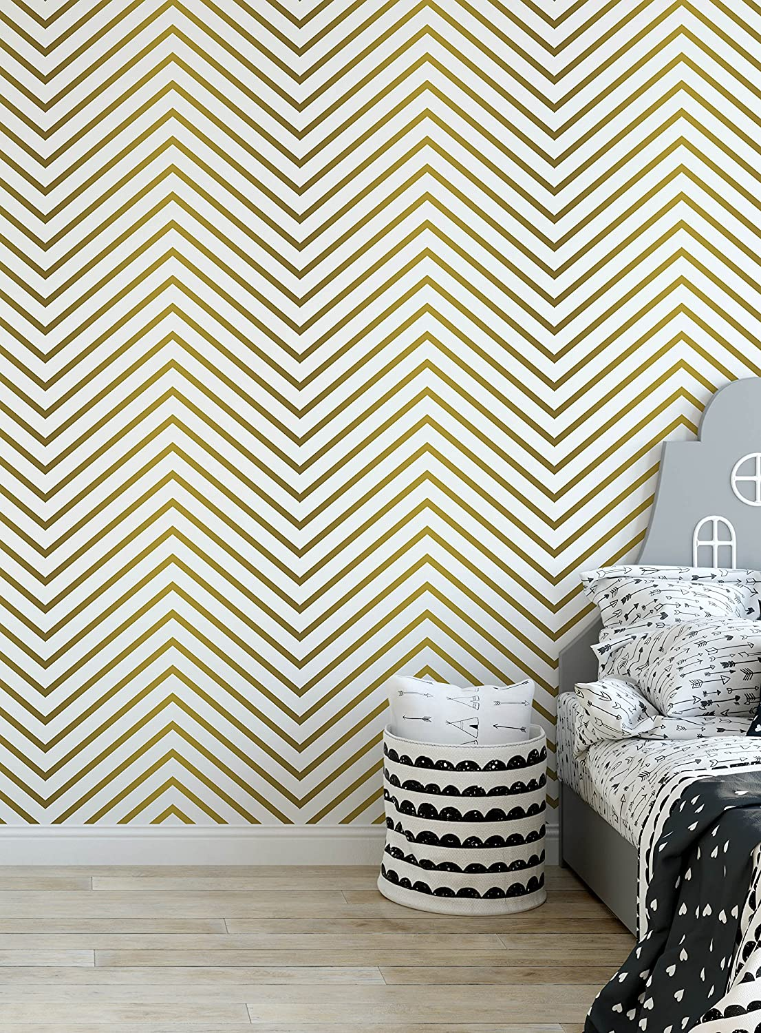 Costacover gold print zigzag removable wallpaper vinyl self adhesive geometric wall decor peel and stick chevron wall paper custom colors available