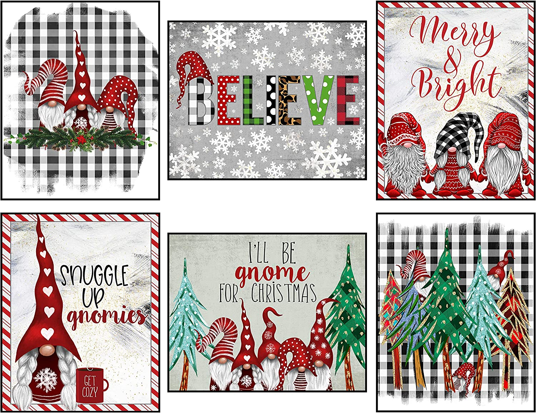 Silly Goose Gifts Vintage Themed Beautiful Christmas Art Print Wall Art Sets (Gnomes Buffalo Plaid Set)