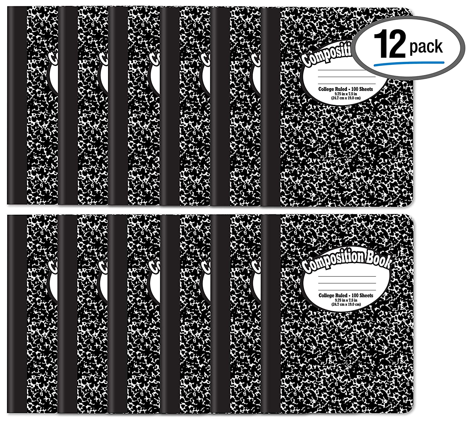 Comp Book Black Marble 12 Pack 72938 Notebooks 100 Sheets College Ruled Paper Mead Composition Books