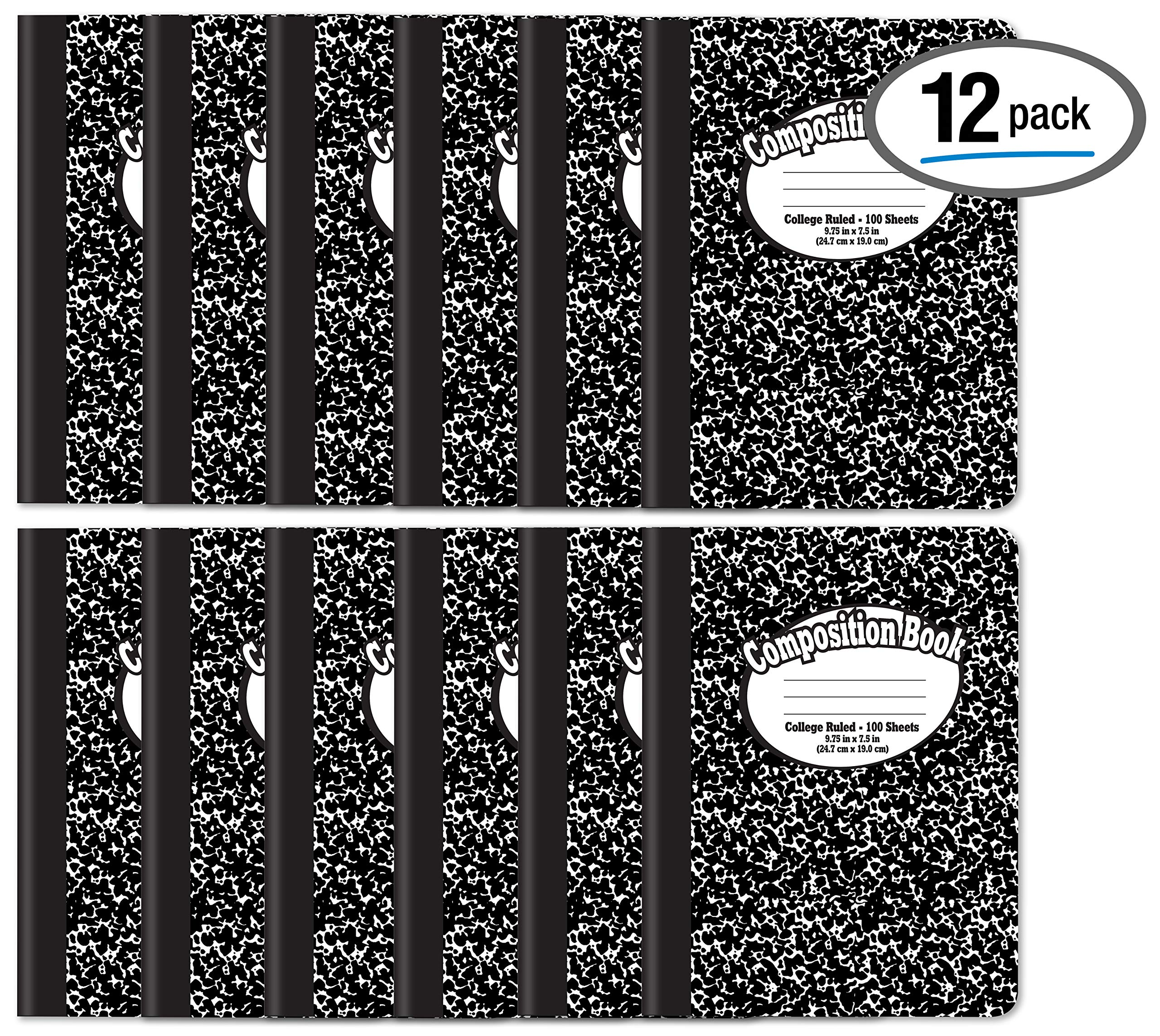 Composition Book Notebook - Hardcover, College Ruled (9/32-inch), 100 Sheet, One Subject, 9.75'' x 7.5'', Black Cover-12 Pack
