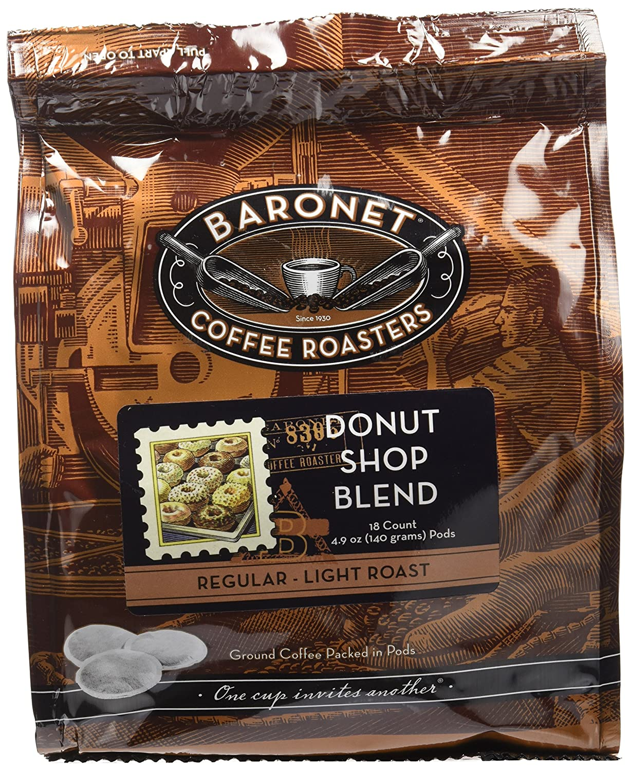 Baronet Coffee Donut Shop Blend Coffee Pods Bag, 54 Count