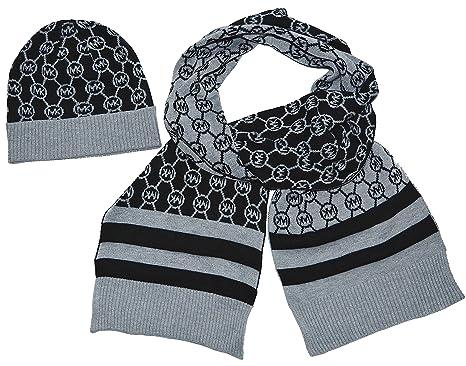 ... meet 55df8 f09cc Michael Kors Circle Logo Metalic Knit Scarf Hat Gift  Set ... 89b90cd354e3