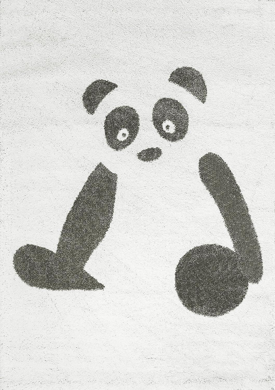 Art for Kids Animal Design Kinder Zimmer der ultrasoftes Panda Teppich, schwarz weiß, 135 x 190 cm