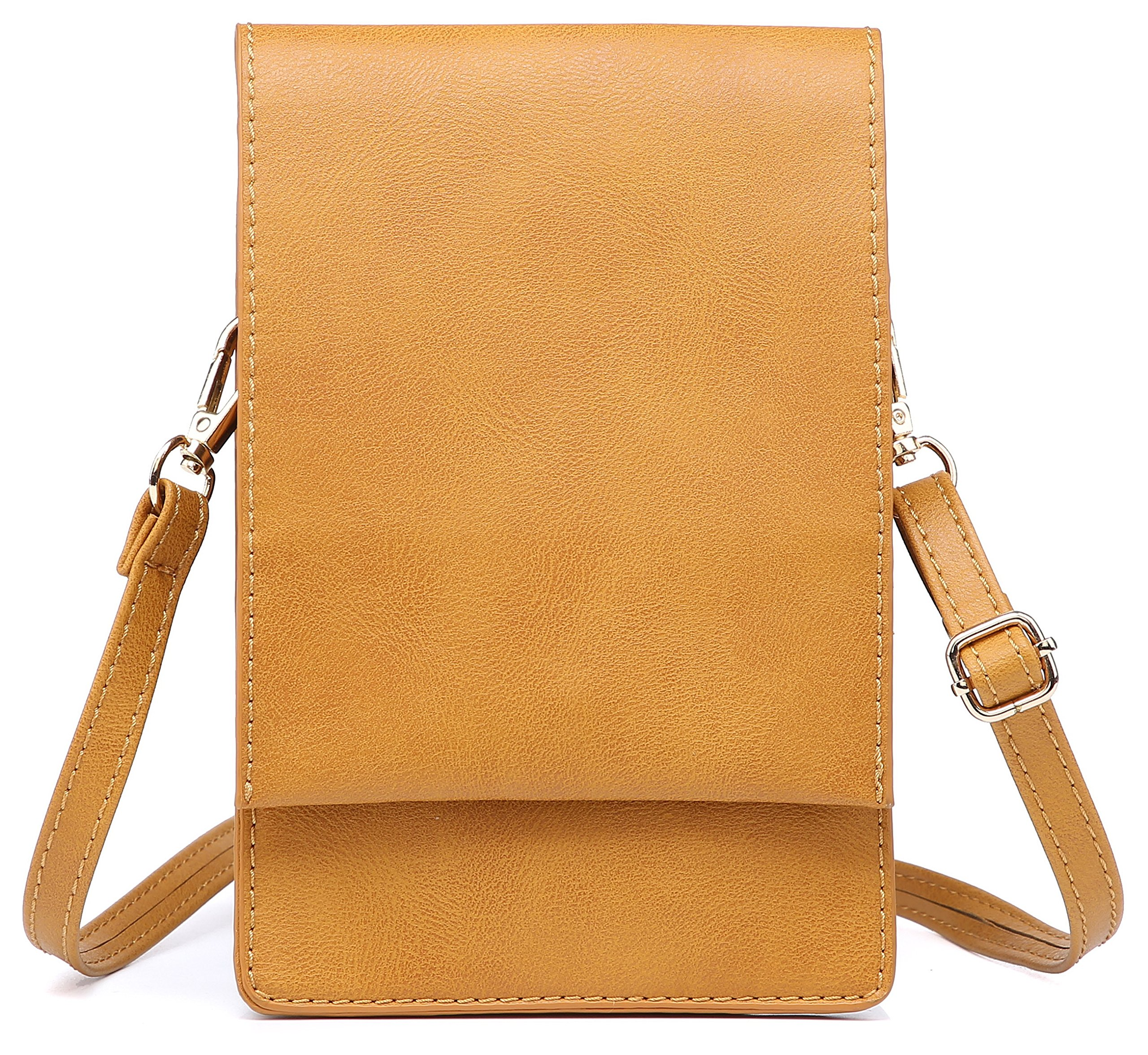 Women Small Crossbody Purse Cell Phone Pouch Wallet Shoulder Bag For 6 Inches (Camel)
